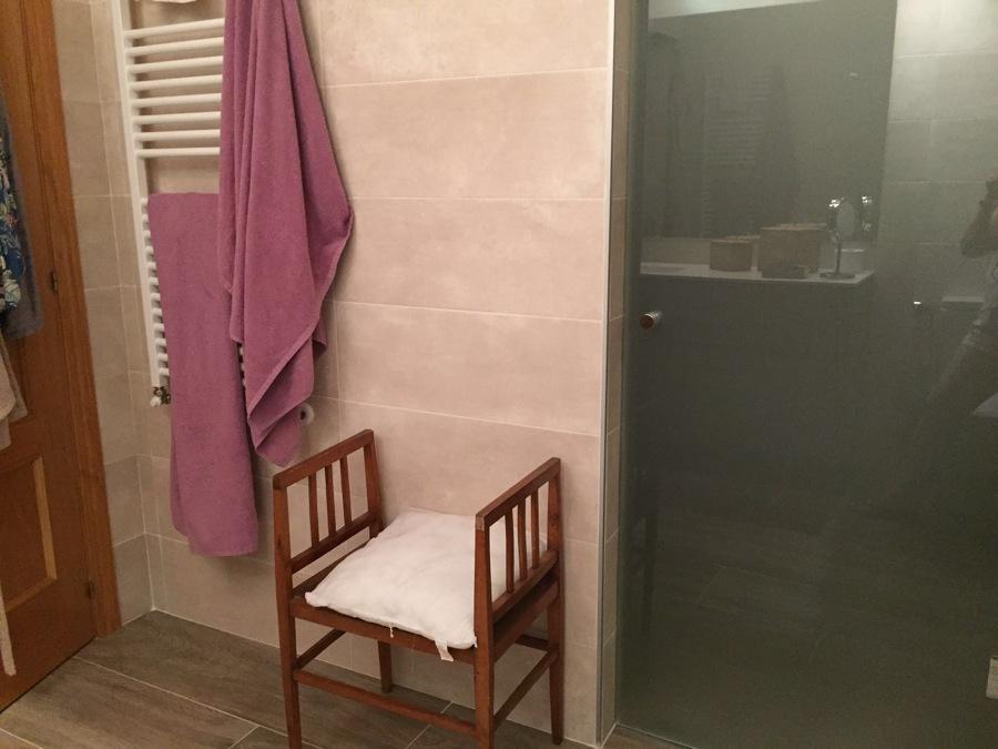 Radiador toallero y puerta de vidrio.