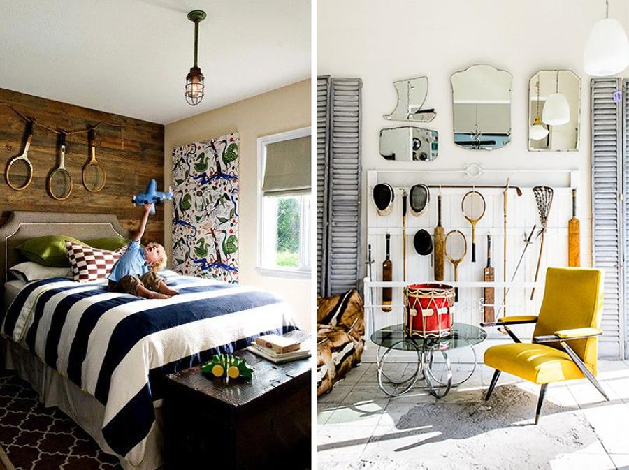 raquetas para decorar en el dormitorio