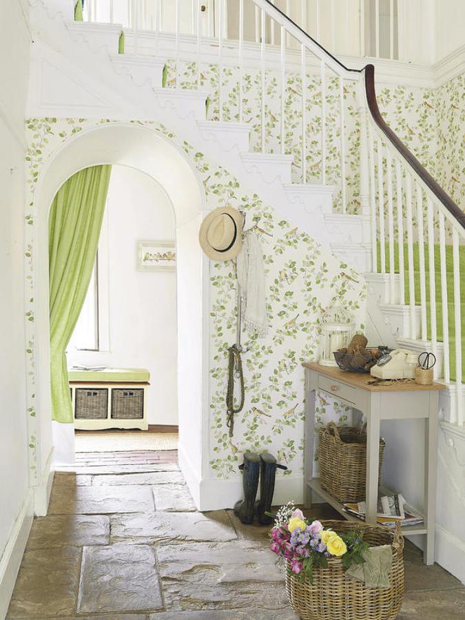 Recibidor en colores verdes y blanco
