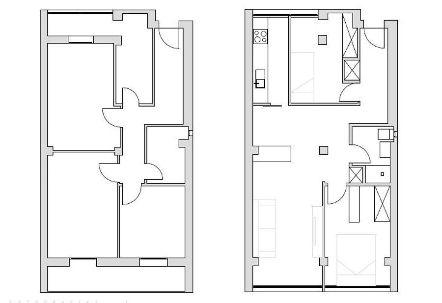 Redistribución de espacios. El antes y El después