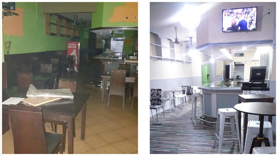 Reforma de Cafetería, antes y después.