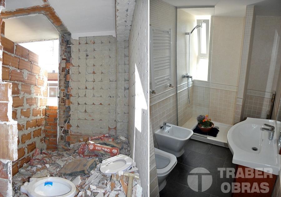 Reforma Baño Integral:Reforma integral de vivienda por Traber Obras – baño antes y después