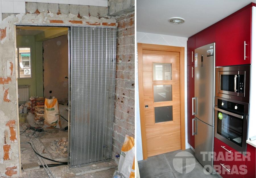 Reforma integral de vivienda por Traber Obras - cocina antes y después.