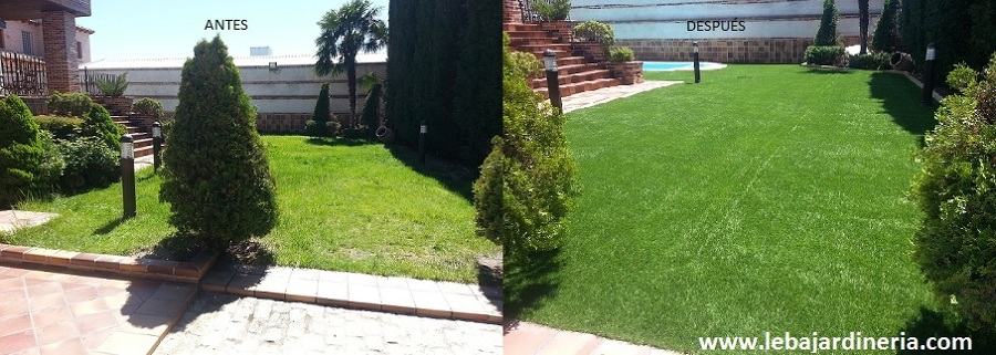 Rehabilitación césped jardín particular