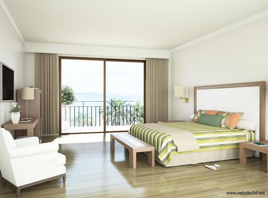 Render 3D de Habitación de Hotel
