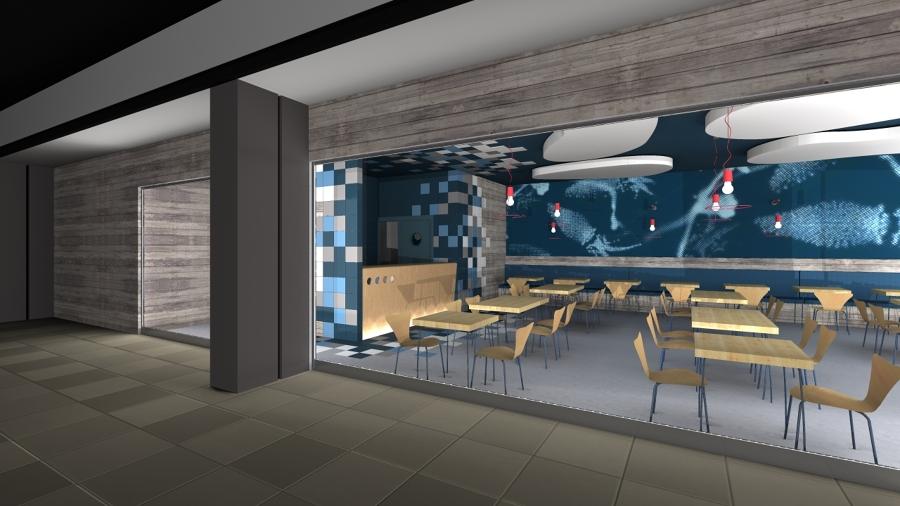 Foto restaurante comida rapida perspectiva lateral de for Cocinas de restaurantes modernos