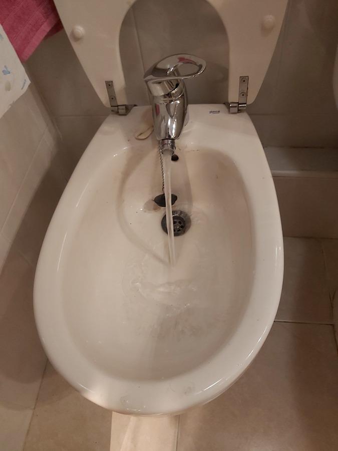Resultado final en grifo de bidet. Caudal y calidad del agua.