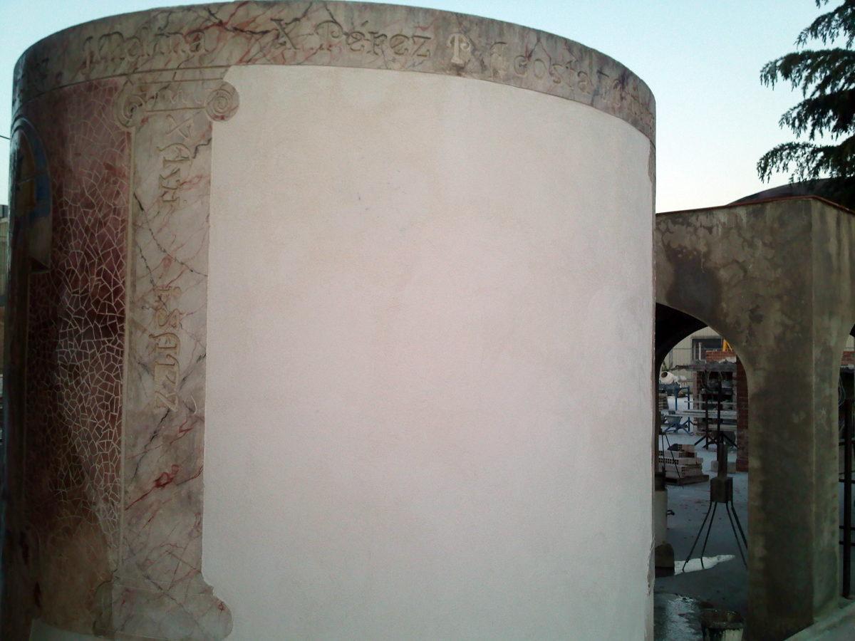 Revestimento para superficie con cal hidratada y arena de marmol