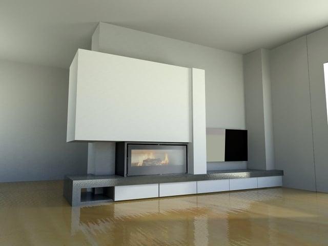Foto revestimiento chimenea villa real dise o 3d vista - Revestimiento de chimeneas modernas ...