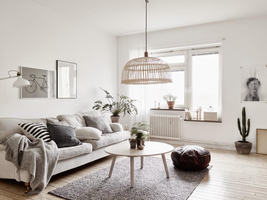 salón en tonos blancos y grises