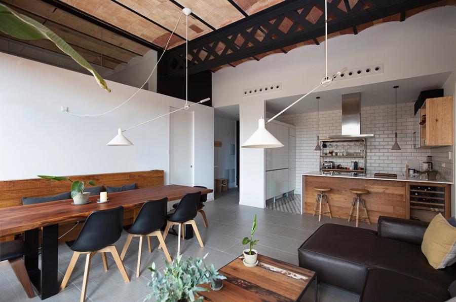 salón abierto a la cocina