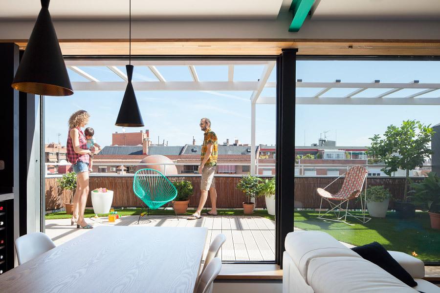 salón abierto a terraza