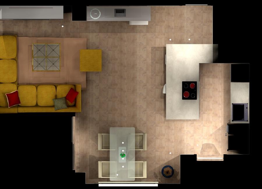 Salon abierto plano 2D