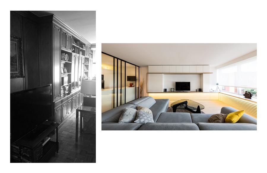 Salón, antes y después