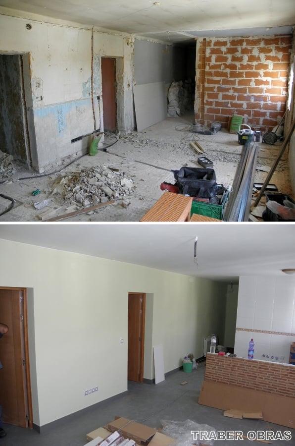 Salón antes y después.