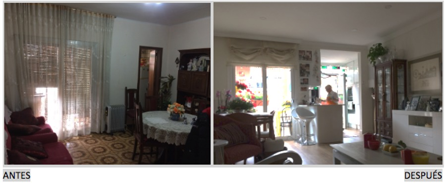 Salón cocina antes / después