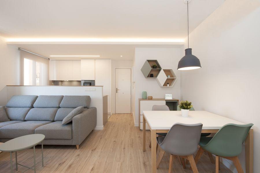 Salón, cocina y comedor conectados