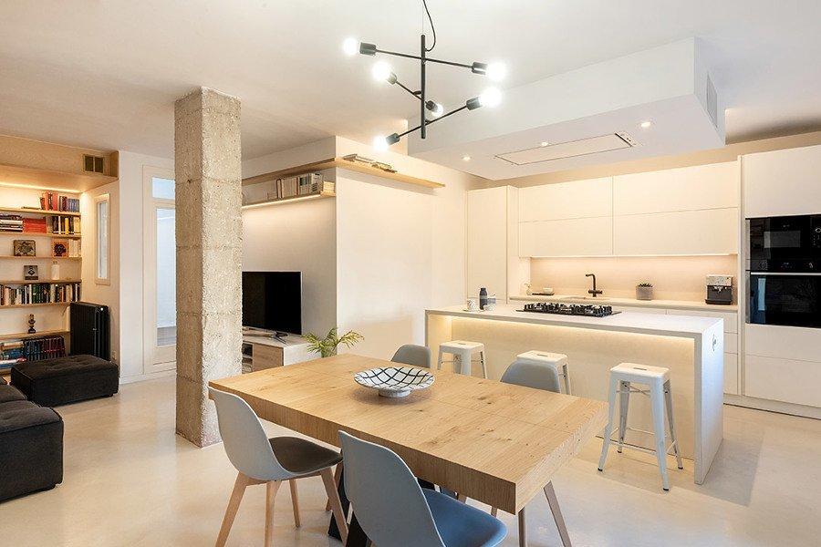 Salón, comedor, cocina rústico