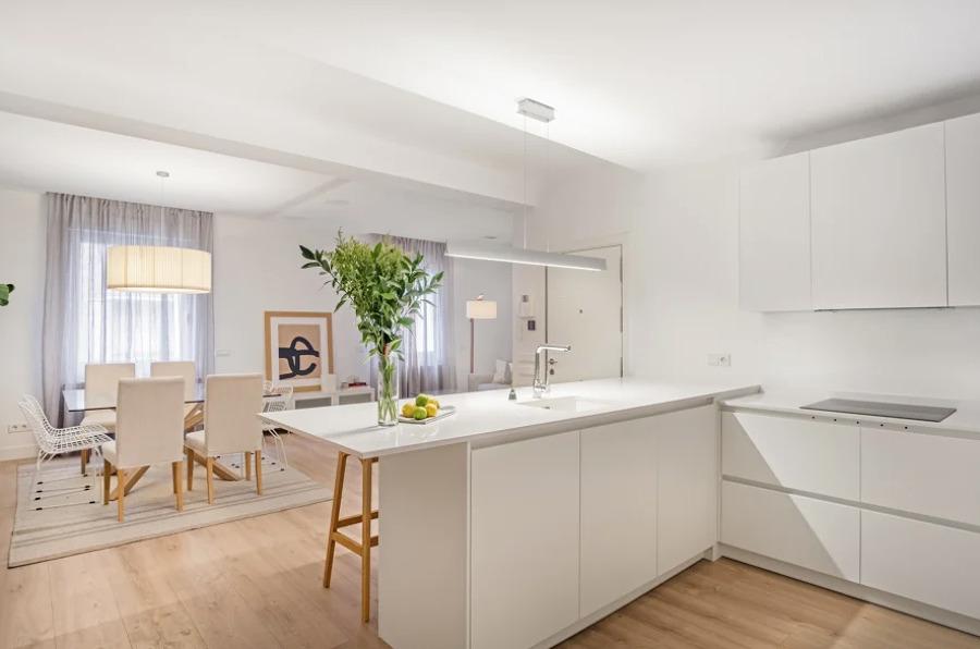 Salón con cocina de planta abierta