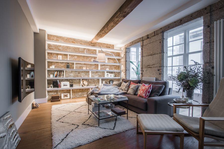 Salón con gran librería de pladur