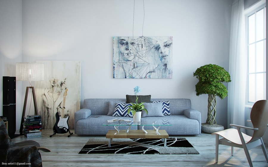 Salón con gran sofá gris perla