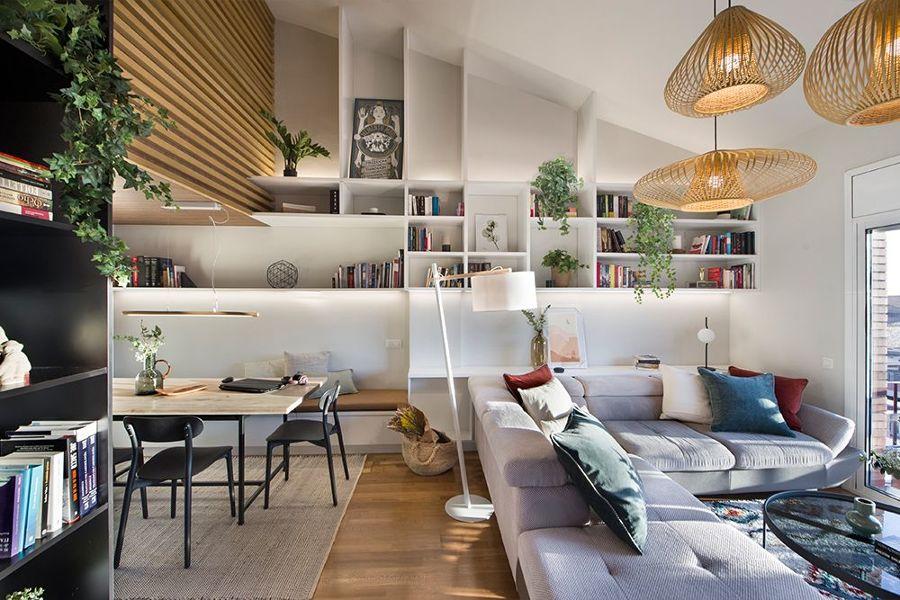 Salón con librería a medida