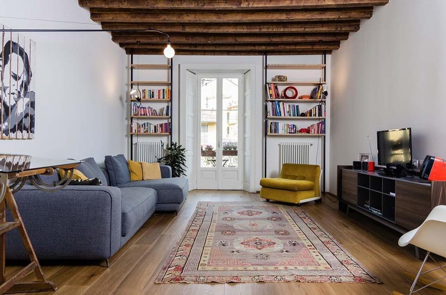 salón con librerías