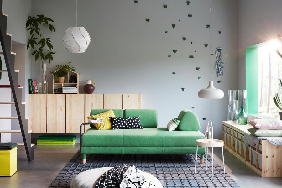 salón con sofá cama de IKEA