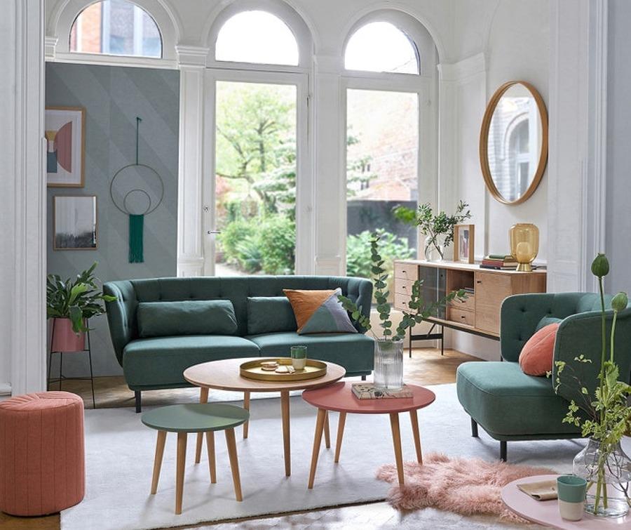 Salón contemporáneo en tonos pastel. La Redoute.
