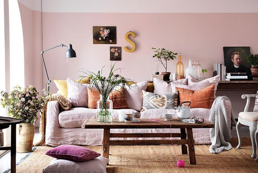 salón en rosa palo