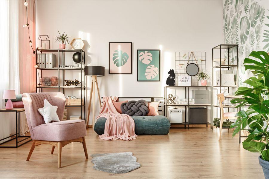 Salón en rosa pastel y verde