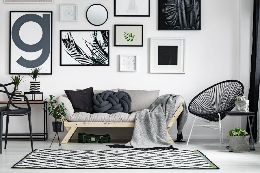 Salón en tonalidades gris