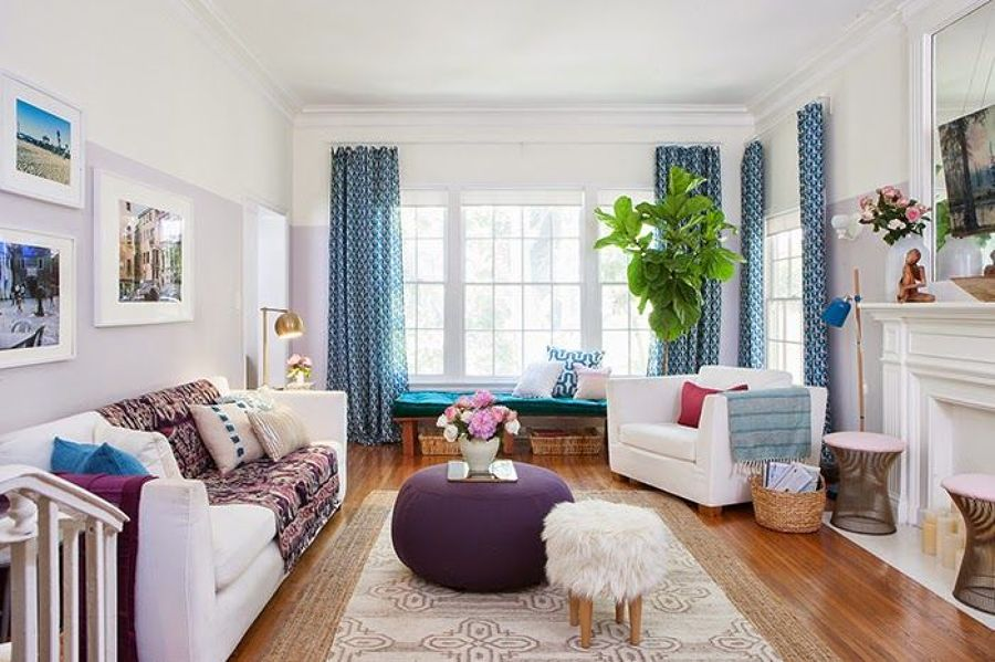 Salón en tonos azul y lila