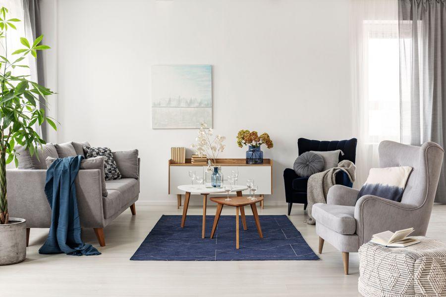 Salón estilo contemporáneo con butacas y sofá