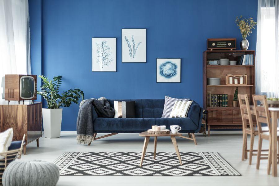 Salón estilo vintage y en azul
