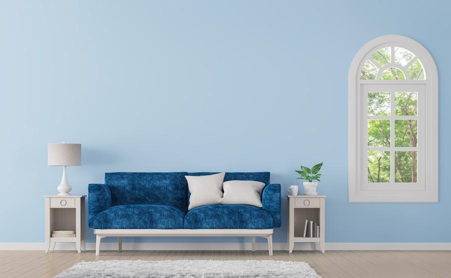 Salón minimalista en azul