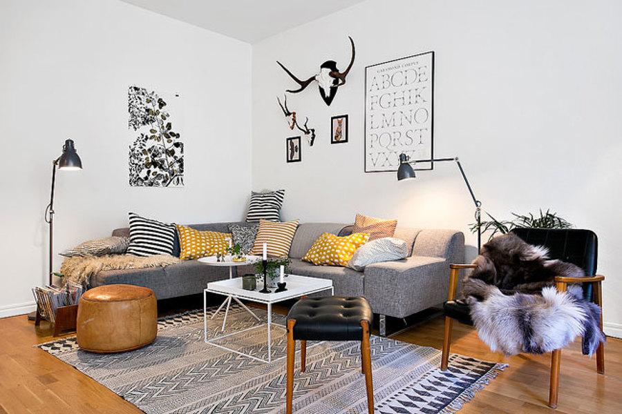 Salón minimalista estilo escandinavo