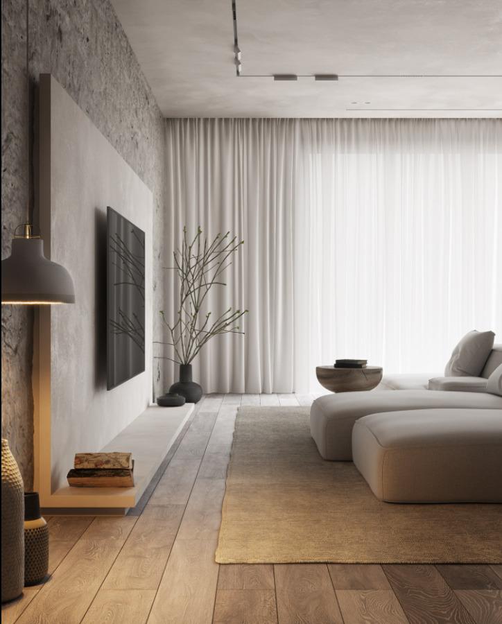 Salón moderno con TV en pared