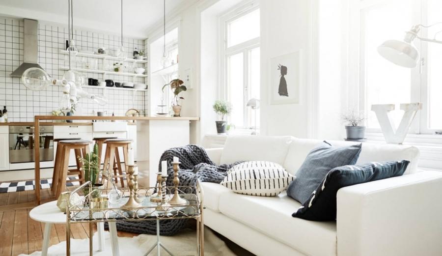 Foto sal n n rdico con cocina abierta de miv interiores for Muebles nordicos