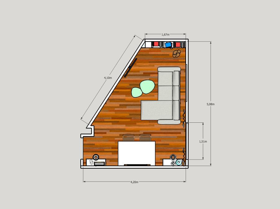 Salón pequeño en diagonal