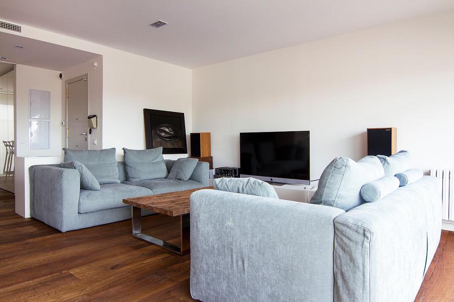 Salón sofás azules
