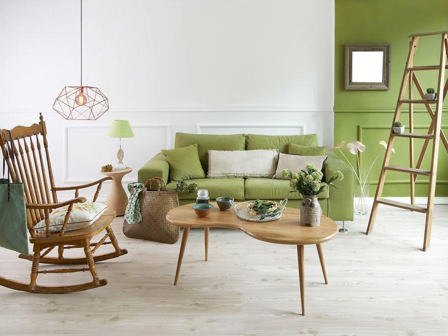 Salón verde y blanco