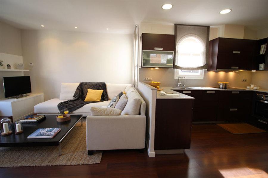 Salón y cocina en espacio abierto