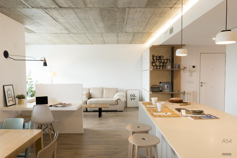 Salón y cocina en mismo espacio