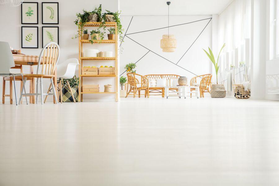 Salón y comedor con mobiliario de mimbre