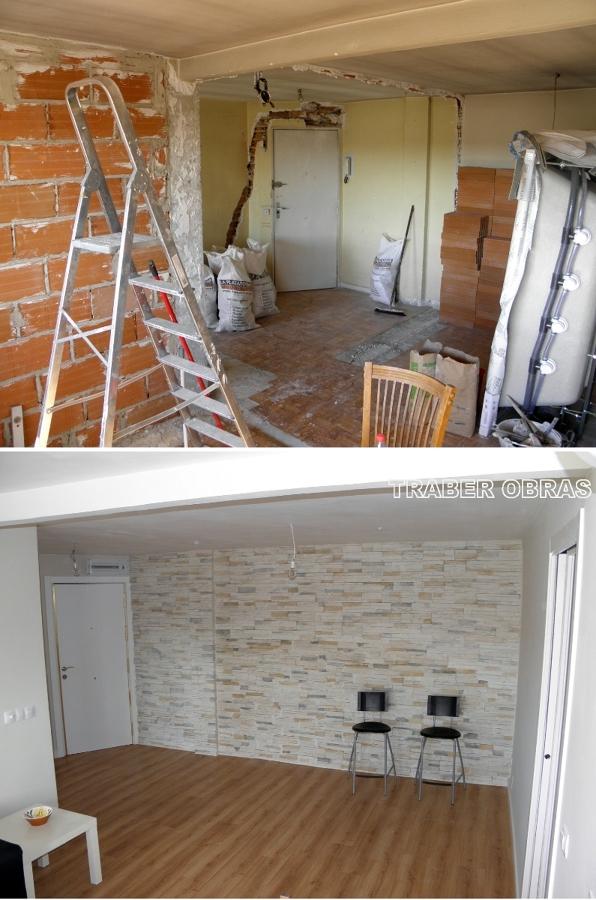 Salón, zona de entrada antes y después.