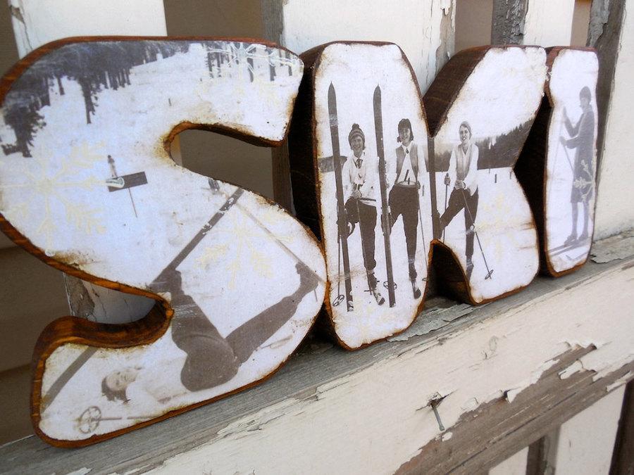 letras esquí vintage