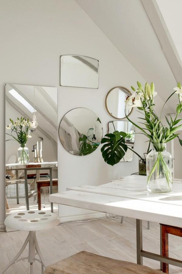espejos en ambiente nórdico