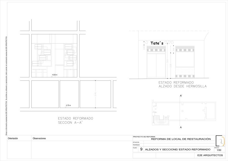 Sección transversal y fachada estado reformado