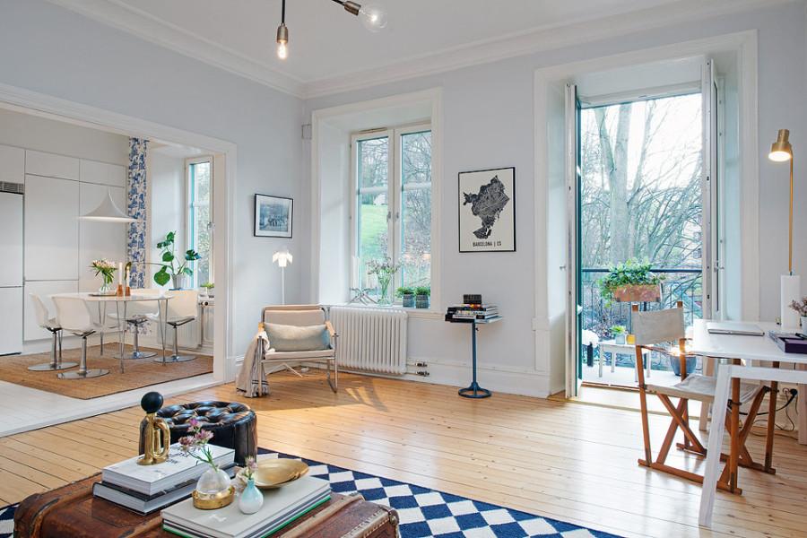 salón vintage con terraza